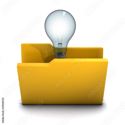 3d Folder containing lightbulb, idea!