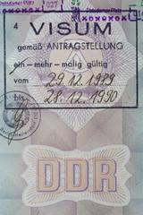 Visum vom 29.12.1989 zum Grenzübertritt / Ausreise aus der DDR