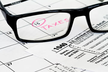 tax form with due date on calendar
