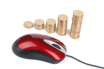 Computer mouse and coins