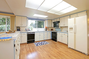 Kitchen Sixties outdated white and blue