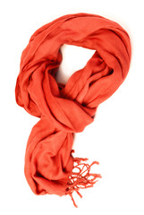 Orange  scarf of cashmere wool