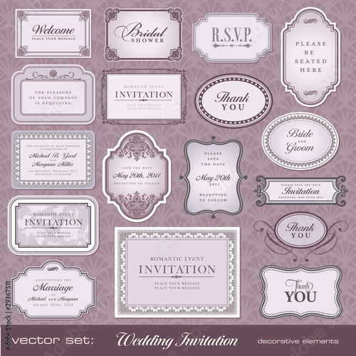 vector set: invitations and announvements for festive events