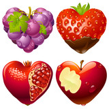 Fototapety Shape of heart set 2. Strawberry, grapes, pomegranate and apple