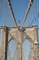 Tower and steel wires of the Brooklyn Bridge (New York City)