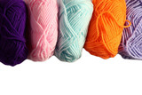 Colorful yarns on a white background