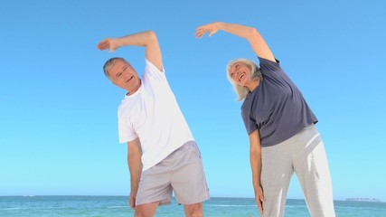 Mature couple doing flexibility exercice