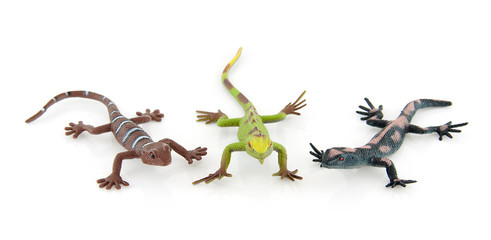 three plastic salamander toys over white background