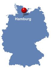Hamburg auf Deutschlandkarte