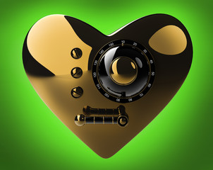 Gold heart safe isolated on green background. 3D render