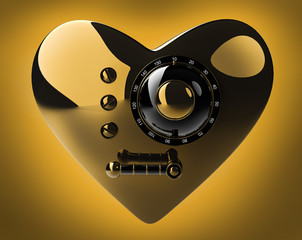 Gold heart safe isolated on orange  3D render