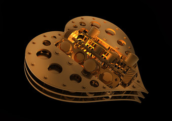 GOLD Mechanical heart V8 isolated on black 3d render