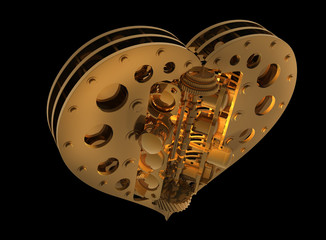 GOLD Mechanical heart V8 isolated on black