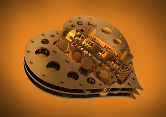 GOLD Mechanical heart V8 isolated on gold 3d render