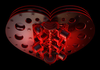 Red heart V8 isolated on black 3d render