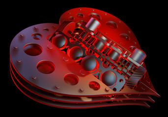 Mechanical heart V8 isolated on black 3d render