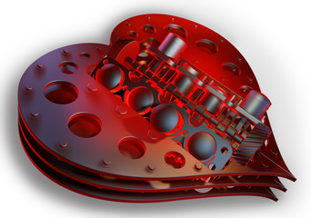 Mechanical red heart V8 isolated on withe 3d render