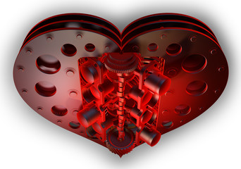 Mechanical red heart V8 isolated on withe