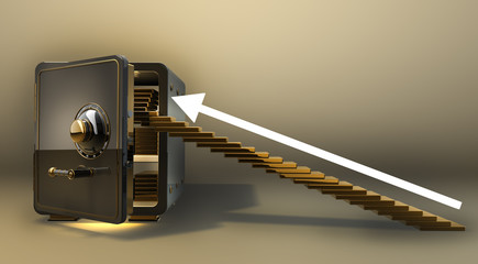 Opened safe with gold ingots 3d render