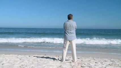 Aged man looking at the horizon