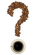 Question mark of coffee beans with a cup