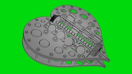 toon heart  on green screen (HD, loop, 30fps, 3d)