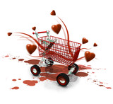 Achat saint-valentin e-commerce shopping 3D amour
