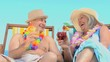 Mature couple toasting with cocktails