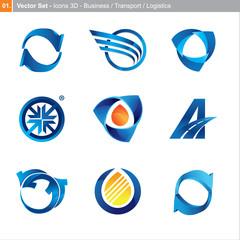 Vector icons: 3d set for business, transport, logistics