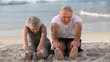 Elderly couple doing flexibility exercices