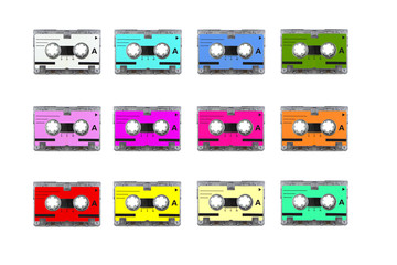 Multi mini audio cassette tape.