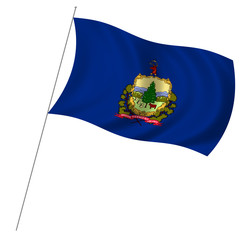 Flag of Vermont with pole flag waving over white background
