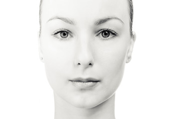 Black-white portrait of young romantic beauty