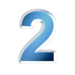 2 - deux - Chiffre bleu effet acier brossé