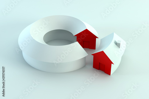conceptual house diagram 3d render