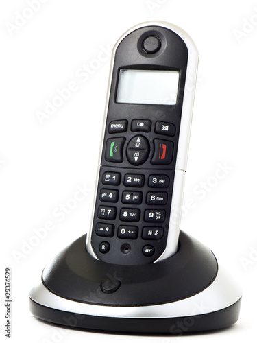 Wireless telephone with cradle isolated on white background