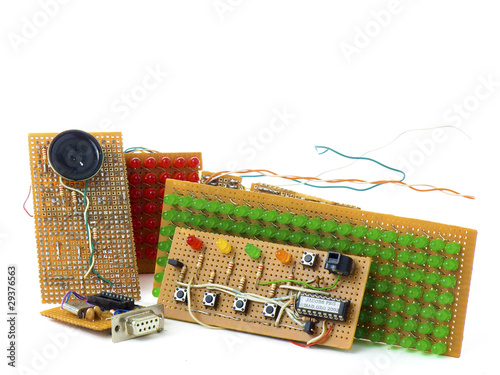 Electronic circuits DIY isolated on white background
