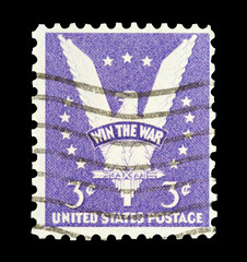 Vintage USA mail stamp featuring Win The War slogan.