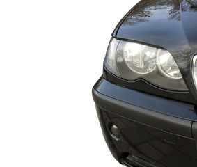 Front view of car light on white