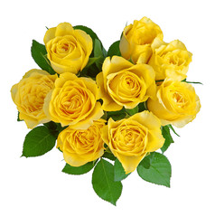 Heart-shape yellow roses isolated on white.