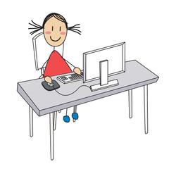 fille ordinateur