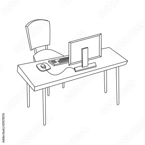 poste de travail ordinateur blanc de p trouche photo libre de droits 29378576 sur. Black Bedroom Furniture Sets. Home Design Ideas