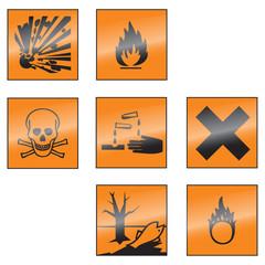 Gefahrensymbole Set spiegelung