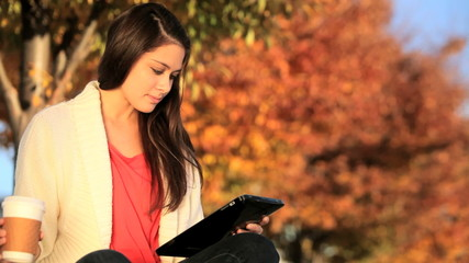 Pretty Girl With Coffee & Wireless Tablet