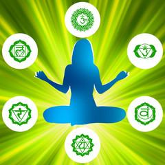 Six Chakras and spirituality symbols. EPS 8