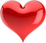 Heart Love red glossy symbol. Valentines day design element