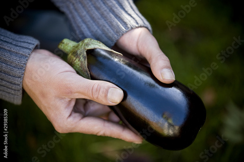 A man holding an aubergine, close-up