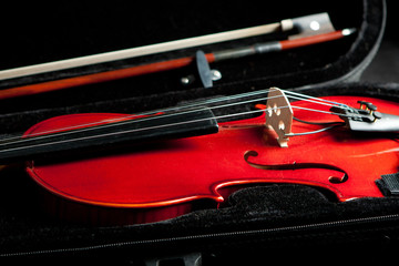 beautiful fiddle and bow in case
