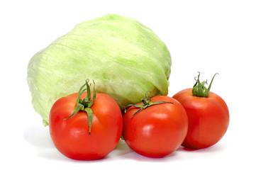 iceberg lettuce and tomatoes