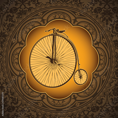 Vintage artistic background with old bicycle.